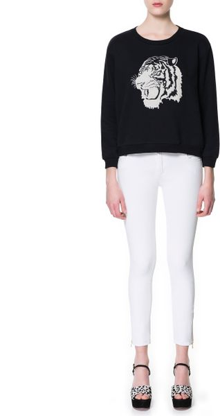 Zara Sweatshirt Top with Animal Embroidery in Black - Lyst