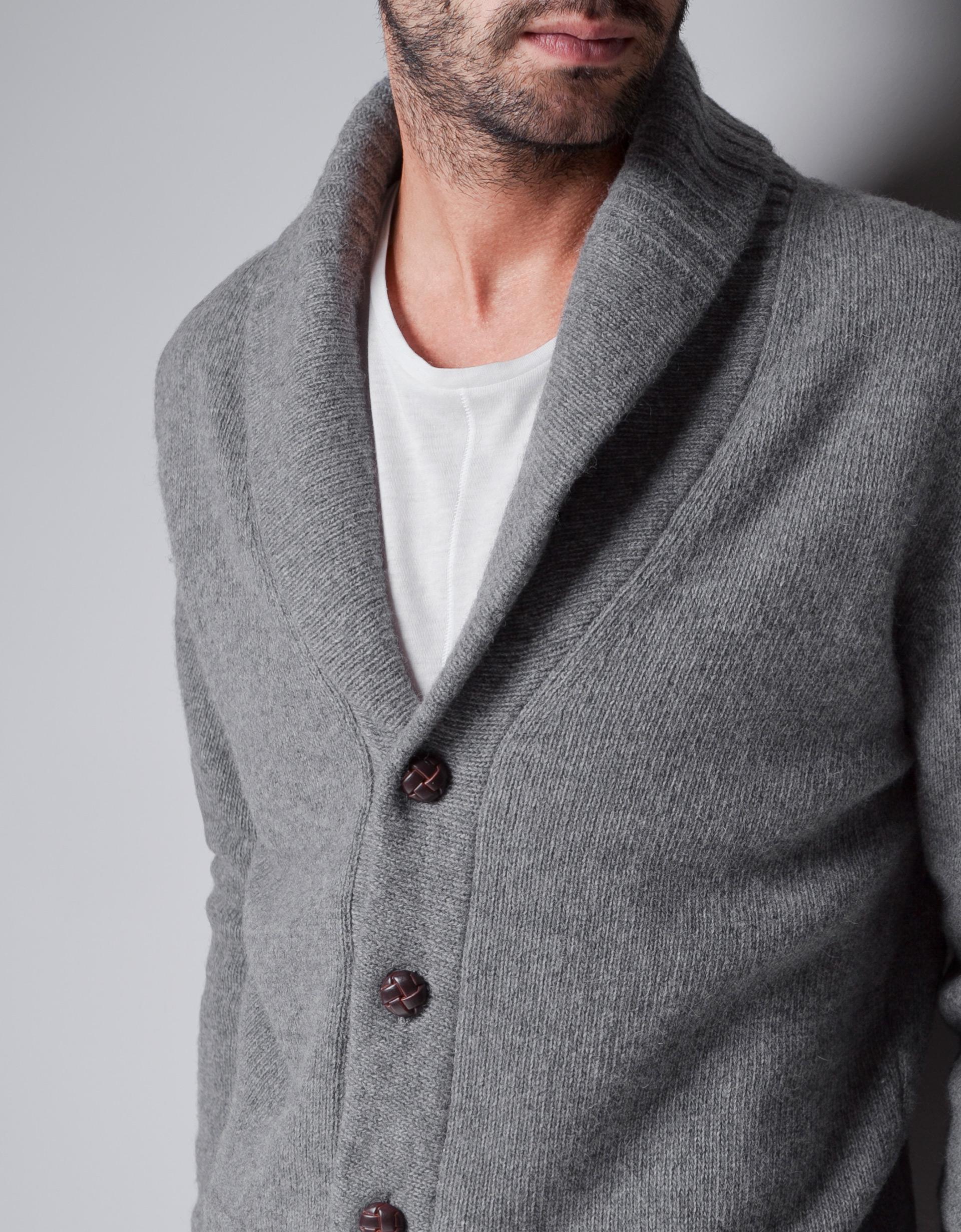 Mens Gray Shawl Collar Cardigan - English Sweater Vest
