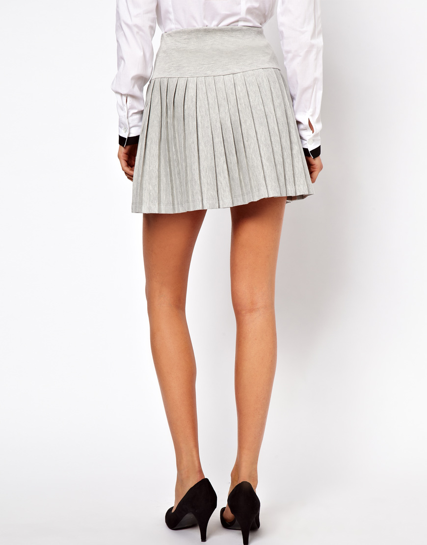 Asos collection Pleated Mini Skirt with Drop Waist in Gray | Lyst