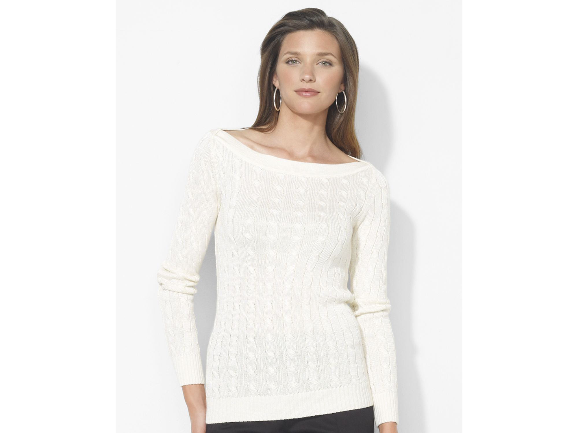 Lauren Ralph Lauren Väskor : Lauren by ralph boat neck cable sweater in white lyst