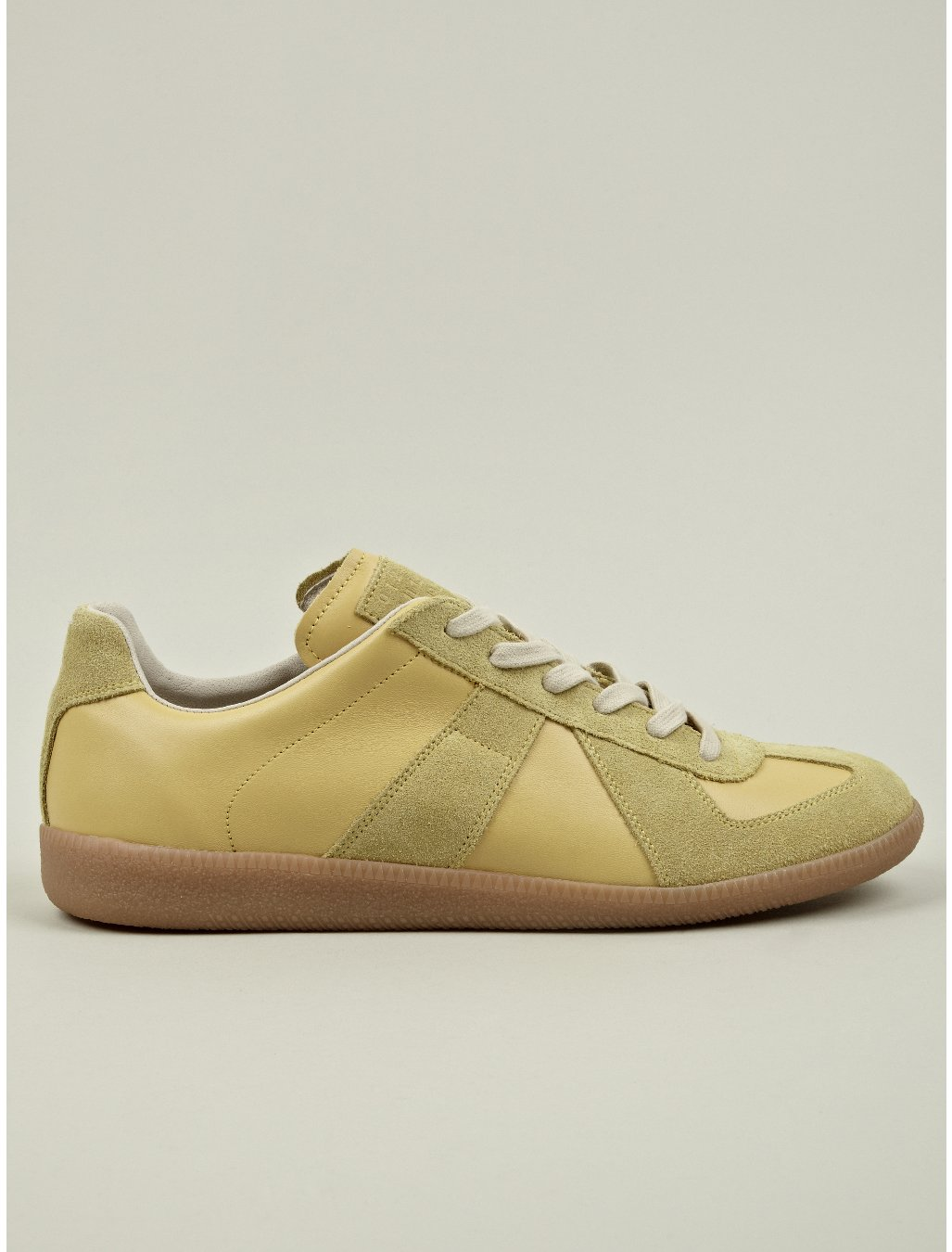 maison martin margiela 22 mens yellow replica low top leather sneakers in yellow for men lyst. Black Bedroom Furniture Sets. Home Design Ideas