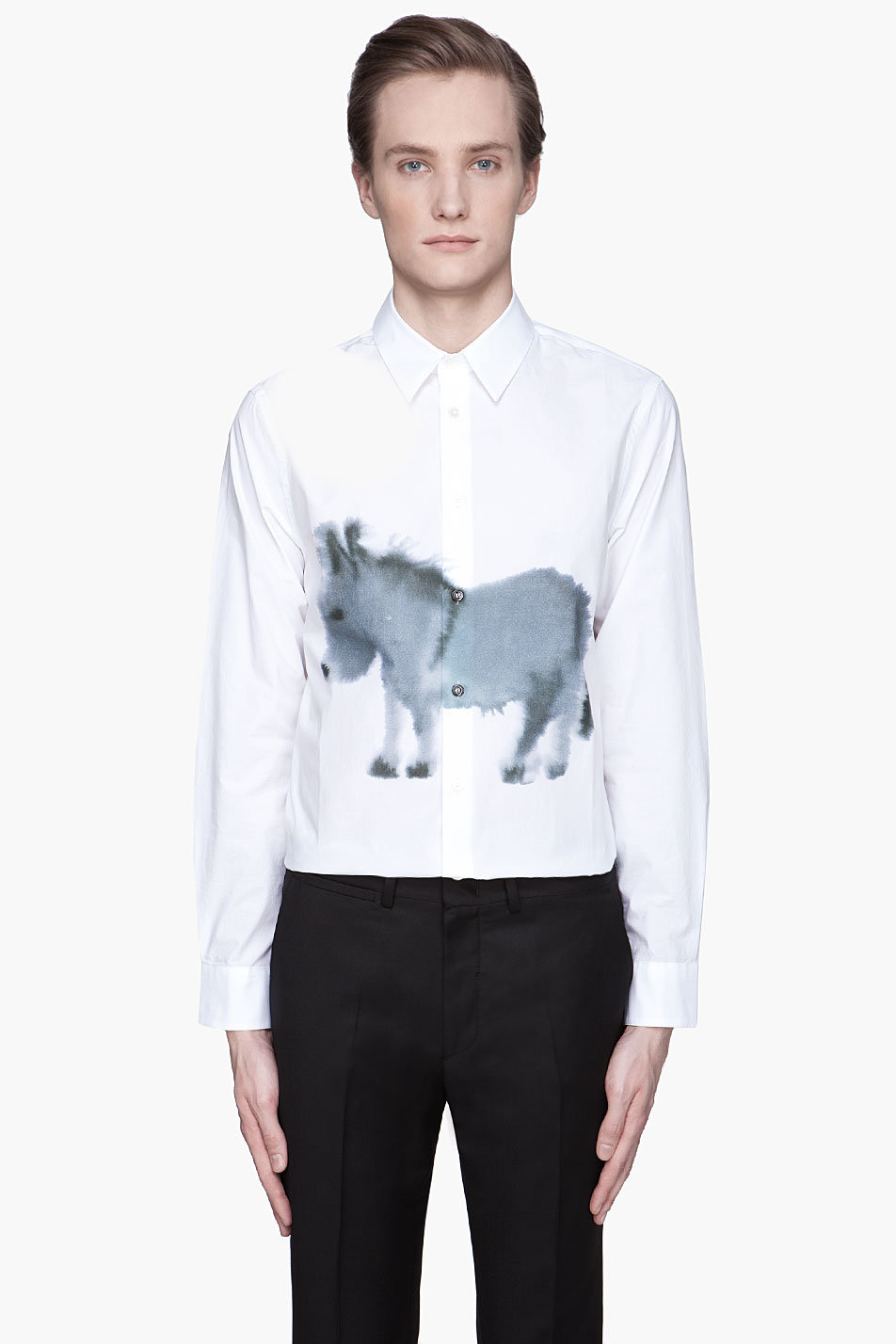 marni white donkey print button up shirt in white for men lyst