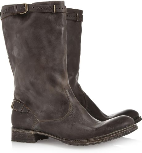 ndc distressed leather boots in gray gray lyst