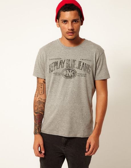 Replay T Shirt Blue Jeans Logo Print In Gray For Men Grey