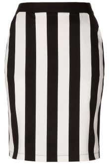 Topshop White Stripe Pencil Skirt - Lyst