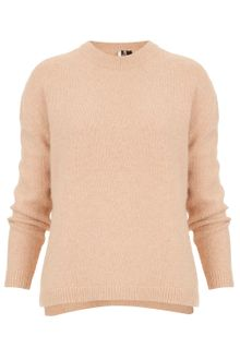 Topshop Knitted Fluffy Neck Jumper - Lyst