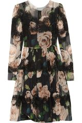 Dolce & Gabbana Floral Print Silk Blend Dress - Lyst