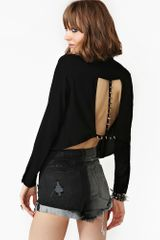 Nasty Gal Spike The Line Blouse Black - Lyst