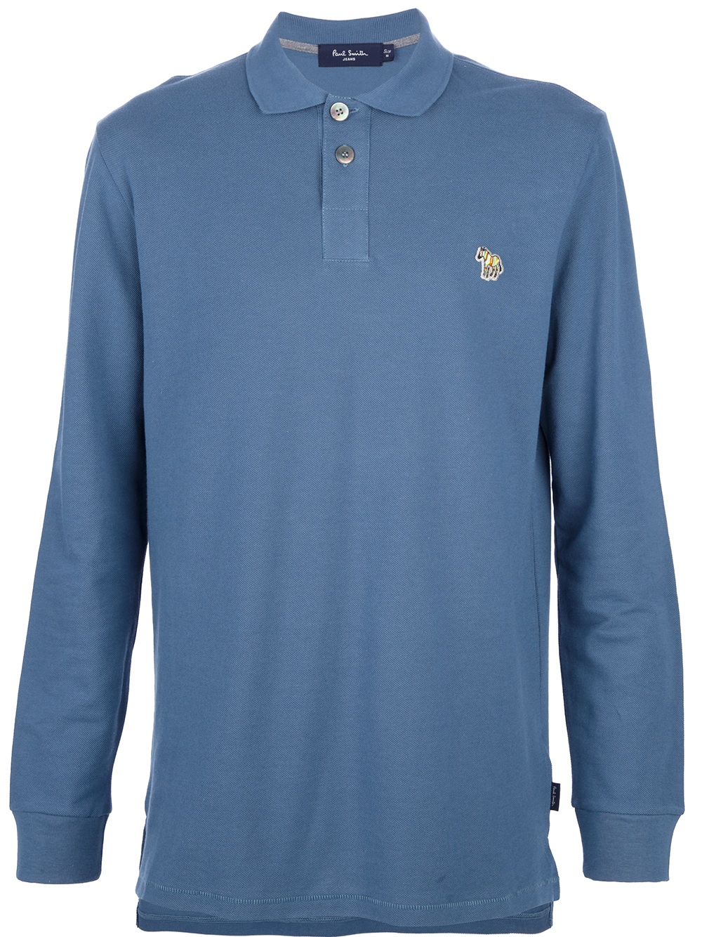 Paul Smith Long Sleeved Logo Polo Shirt In Blue For Men Lyst