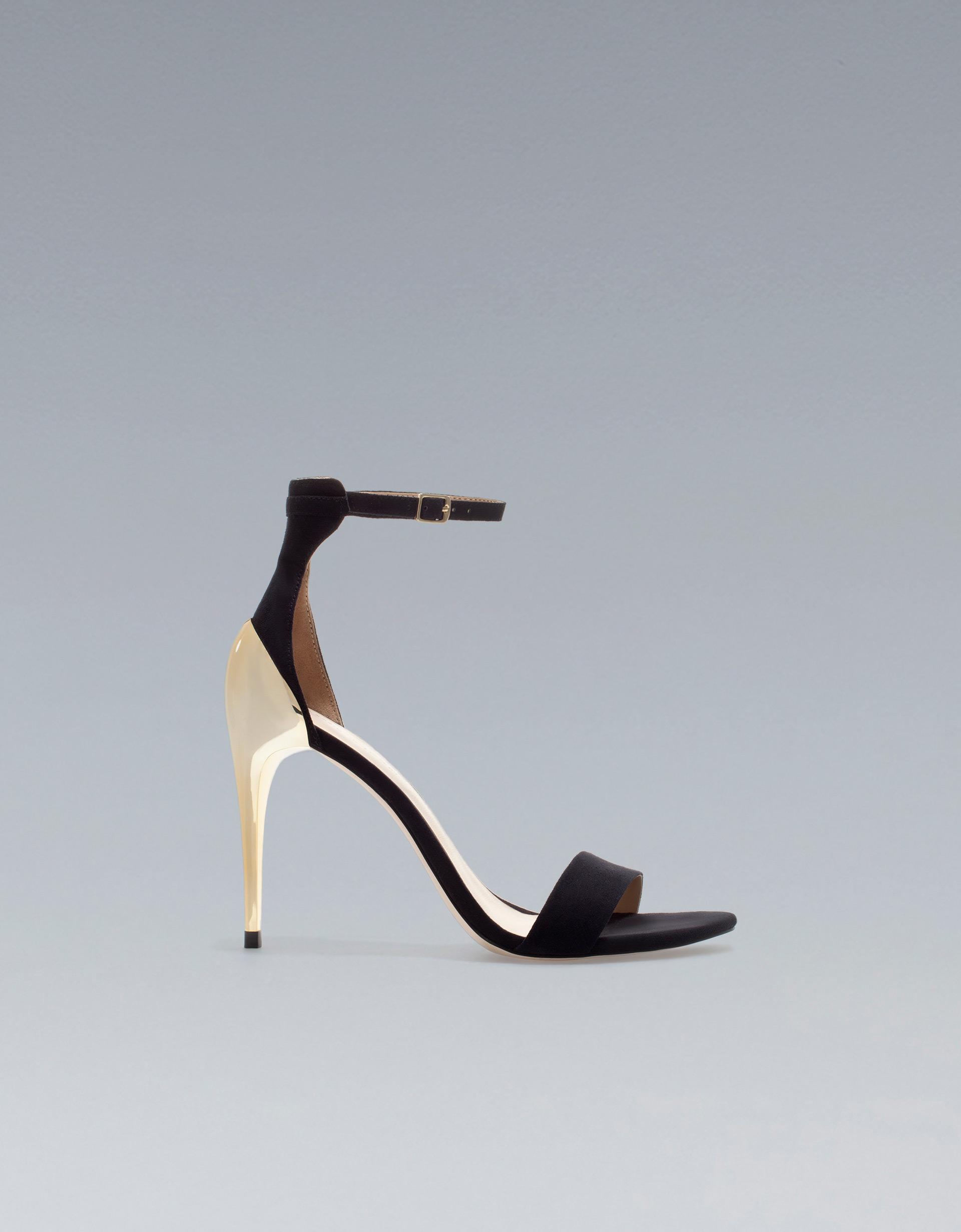 Black sandals gold heel - Gallery