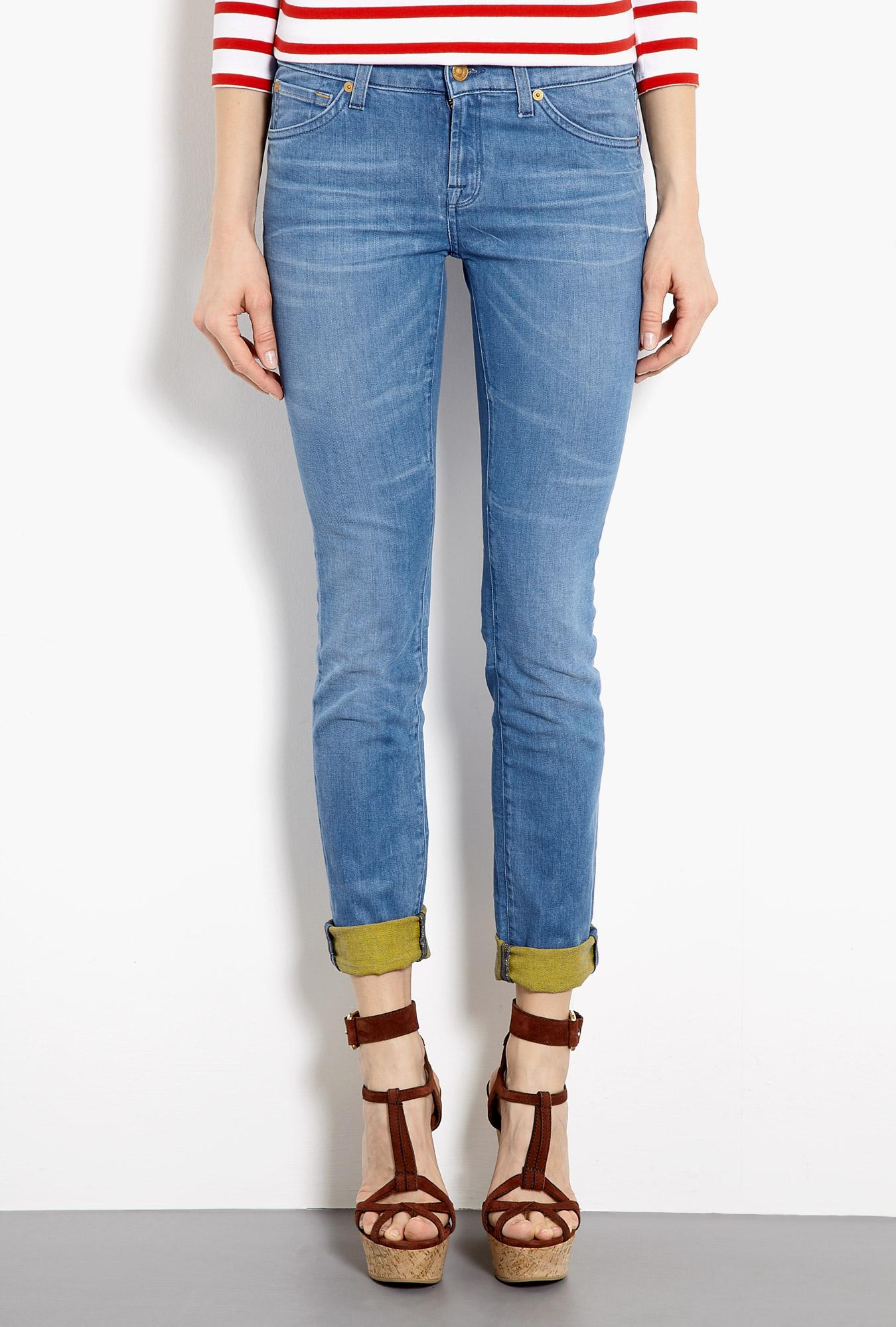 7 for all mankind weft denim cristen skinny jeans in blue. Black Bedroom Furniture Sets. Home Design Ideas