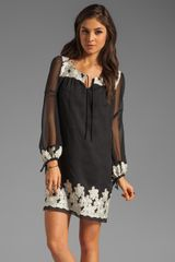 Anna Sui Floral Embroidered Chiffon Long Sleeve Dress - Lyst