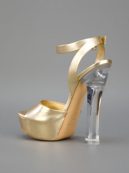 Casadei Block Heel Sandal In Gold Lyst