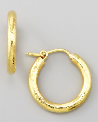 Elizabeth Locke Big Baby Hammered 19k Gold Hoop Earrings - Lyst