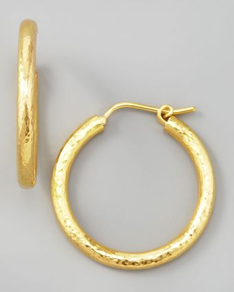 Elizabeth Locke Giant Hammered 19k Gold Hoop Earrings - Lyst