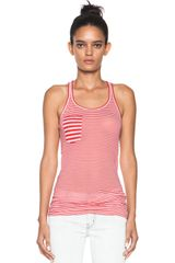 Etoile Isabel Marant Emy Super Light Jersey Striped Tank in Rouge - Lyst