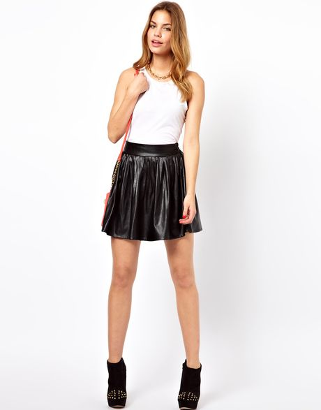 glamorous leather look skater skirt in black lyst