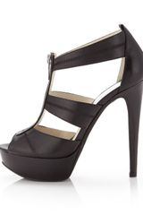 Michael Kors Berkley Leather Tstrap Sandal Black - Lyst