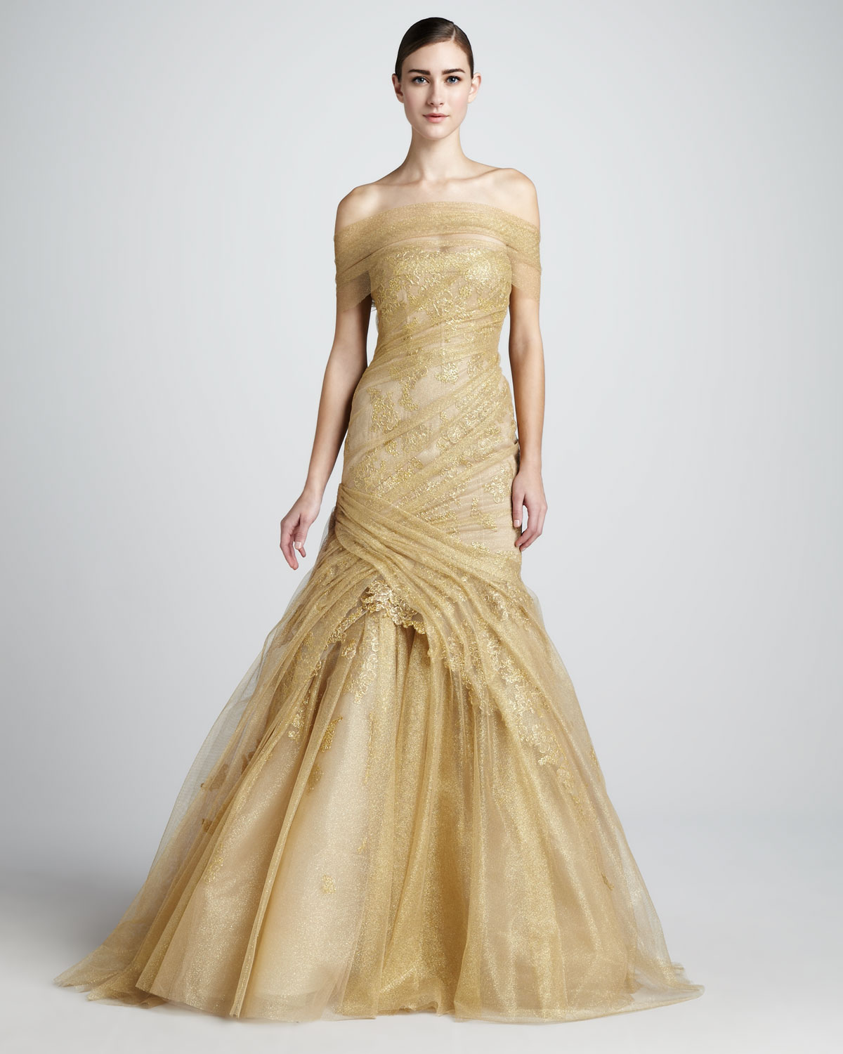 Lyst - Monique Lhuillier Ruchedlace Trumpet Gown in Metallic