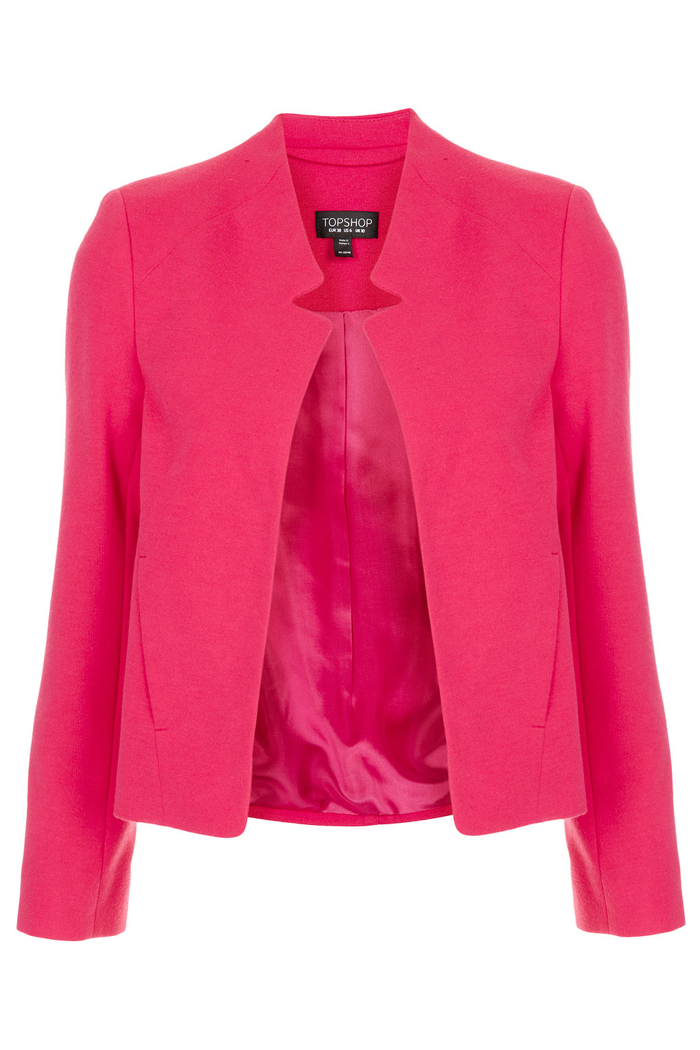Topshop Ponte Notch Neck Jacket in Pink | Lyst