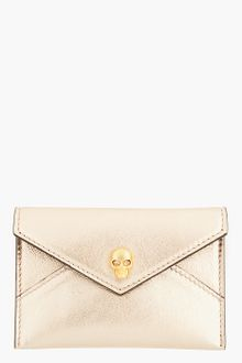 Alexander McQueen Rose Gold Skull Accent Envelope Card Holder - Lyst
