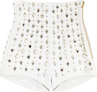 Balmain Embellished Highrise Leather Shorts - Lyst
