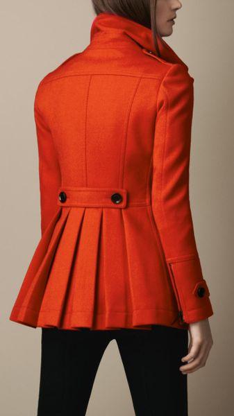 Burberry Brit Wool Pea Coat in Red (orange red)   Lyst