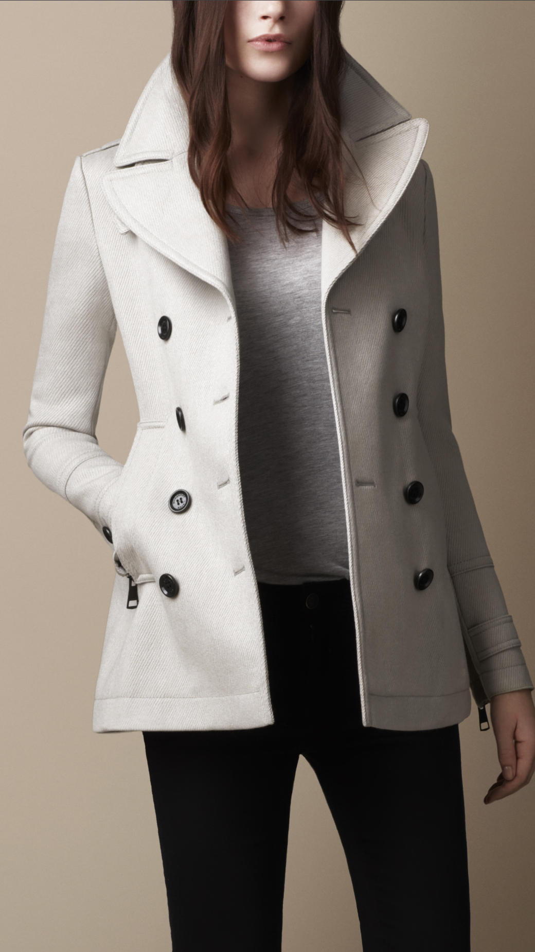 Burberry brit Wool Pea Coat in Gray | Lyst