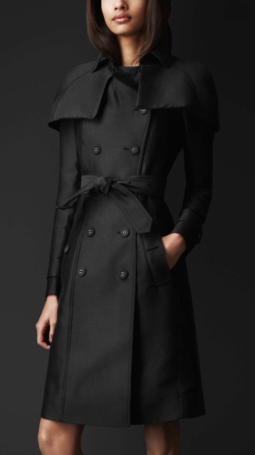 Burberry Prorsum Double Duchess Caped Trench Coat In Black Lyst