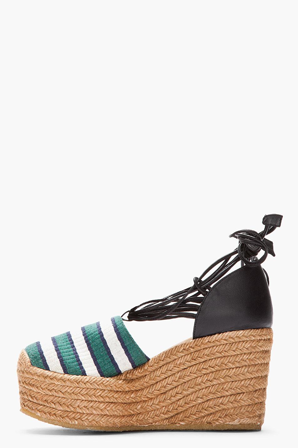 Chlo 233 Green Striped High Wedge Espadrille Heels In Green