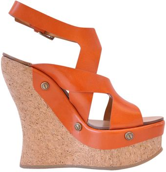 Chloé Leather Mineo Sandal with Cork Wedge - Lyst