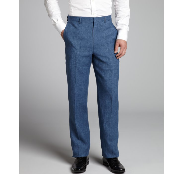 Joseph abboud Denim Blue Linen Woven Straight Leg Pants in Blue ...