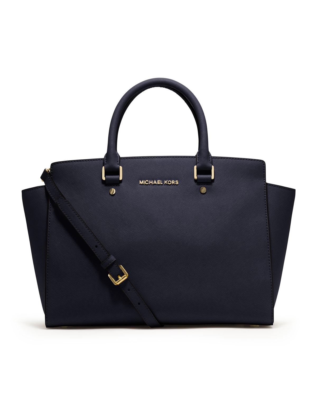 michael kors large selma topzip satchel in blue navy lyst. Black Bedroom Furniture Sets. Home Design Ideas