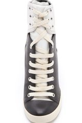 See By Chloé Two Tone Wedge Sneakers in Black - Lyst
