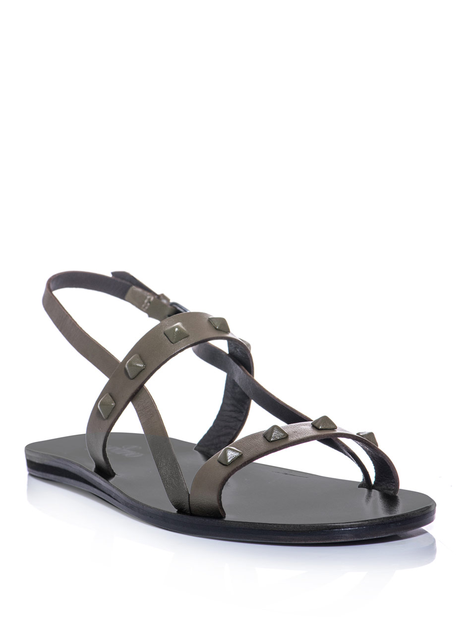 Valentino Studded Leather Sandals In Khaki For Men Lyst
