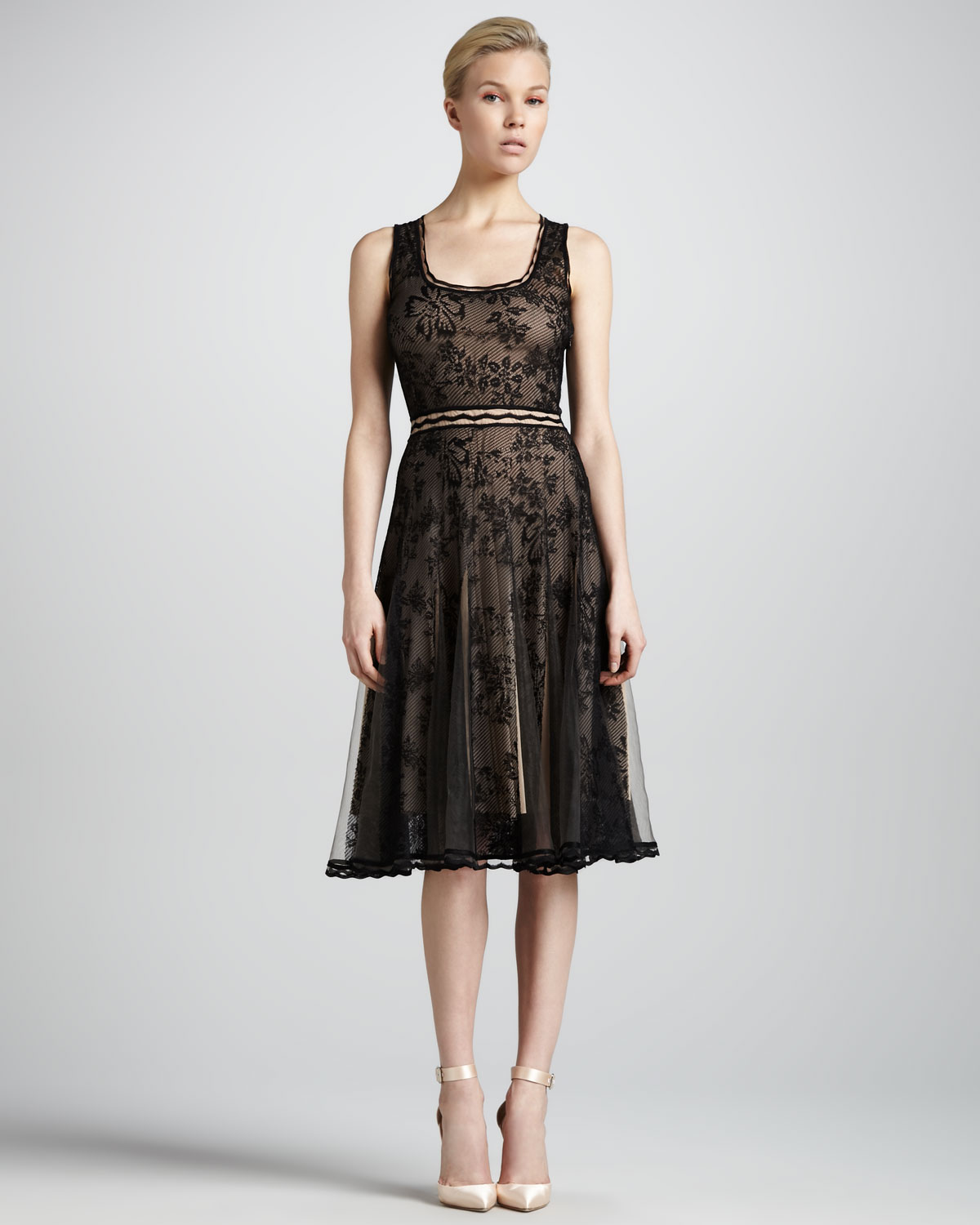 zac posen scoop neck lace cocktail dress in black lyst