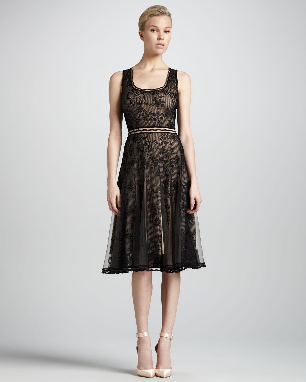 Zac Posen Scoop Neck Lace Cocktail Dress In Black