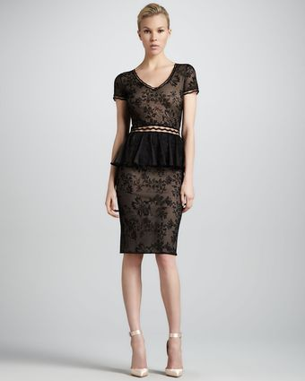 Zac Posen Shortsleeve Lace Peplum Cocktail Dress - Lyst