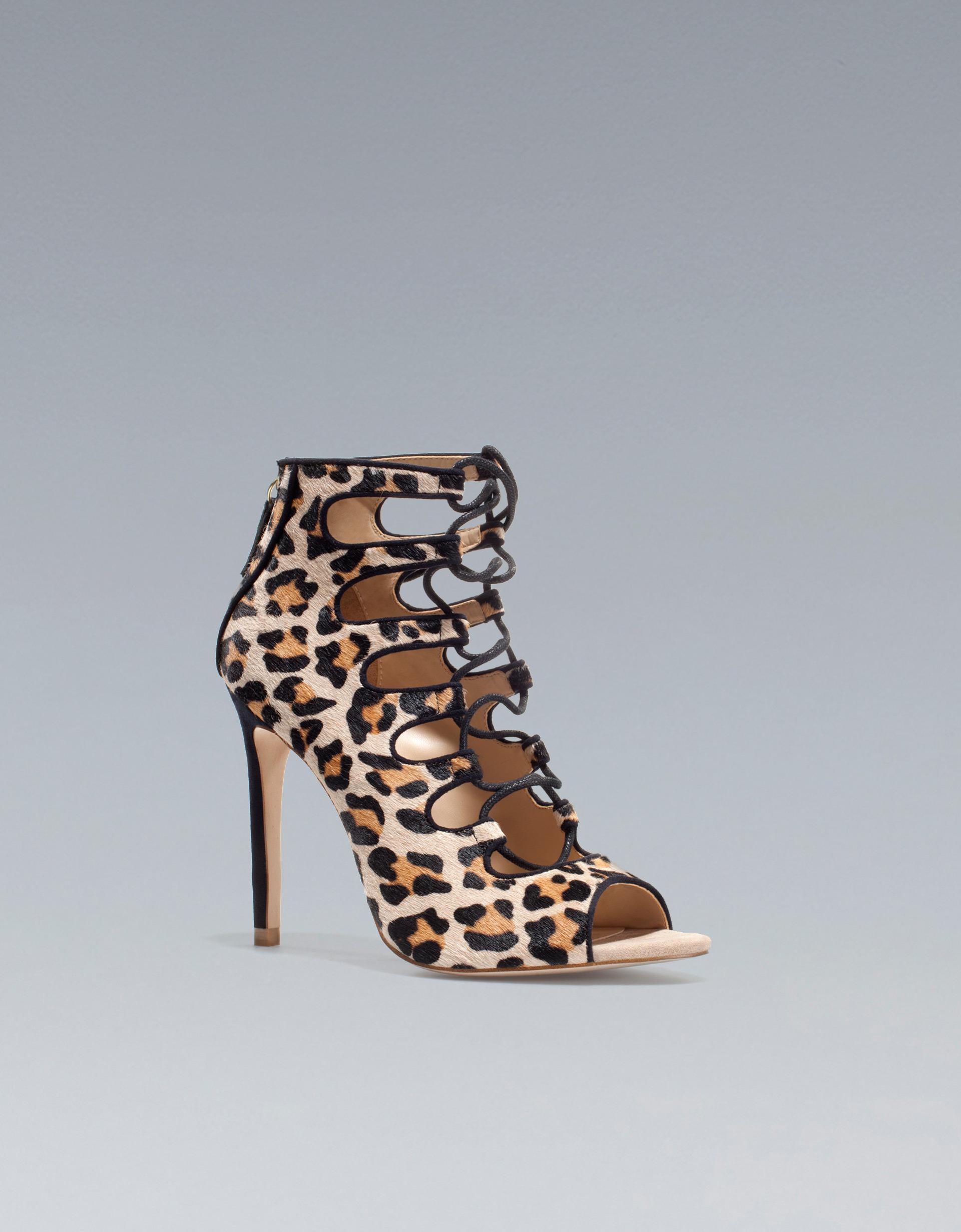 Zara Leopard Print Ankle Boot Sandal in Animal (leopard ...