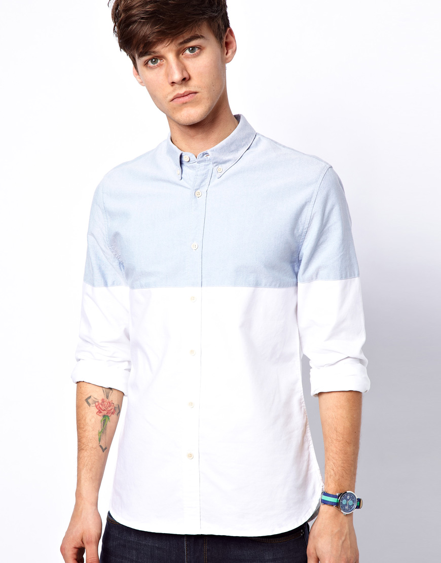 Lyst Asos Oxford Shirt With Cut Sew In White For Men