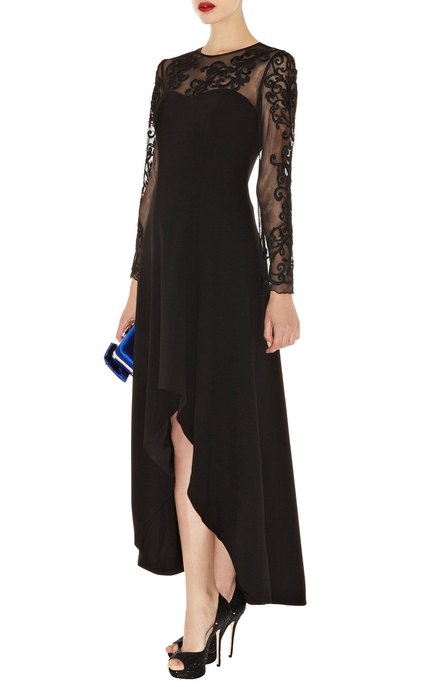 Lyst Karen Millen Lace Sleeve Maxi Dress In Black