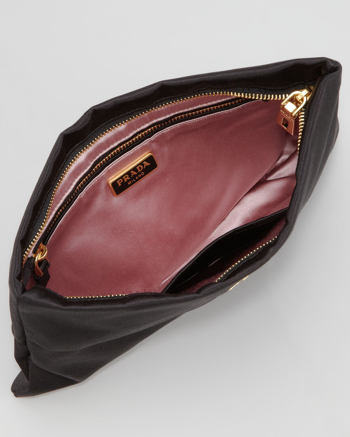 262ca83d51aa ... coupon code for prada satin clutch bag in black lyst cb27a c5faf