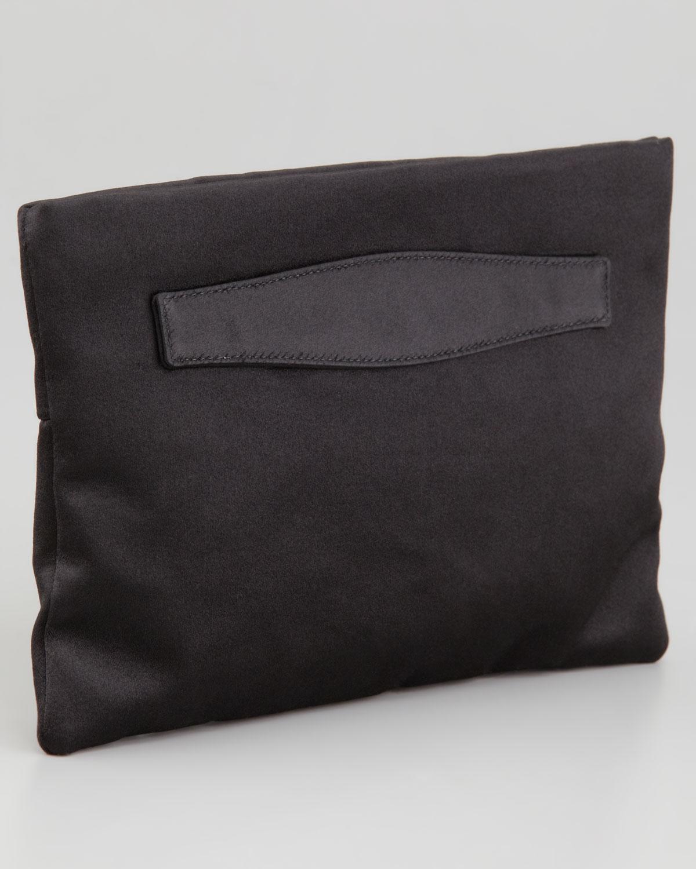 Lyst - Prada Satin Clutch Bag in Black bd2382ee6c58d