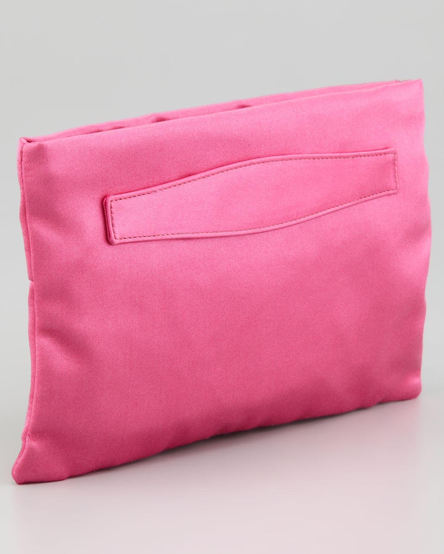 Prada Satin Clutch Bag in Pink (bright pink) | Lyst