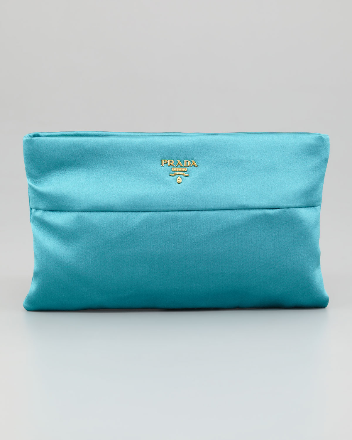 Prada Satin Clutch Bag in Blue (turquoise) | Lyst