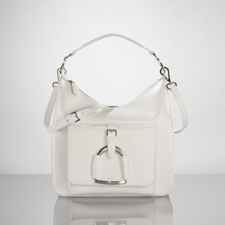 Ralph Lauren Equestrian Leather Hobo in White - Lyst