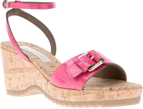 stella mccartney low wedge sandal in pink lyst