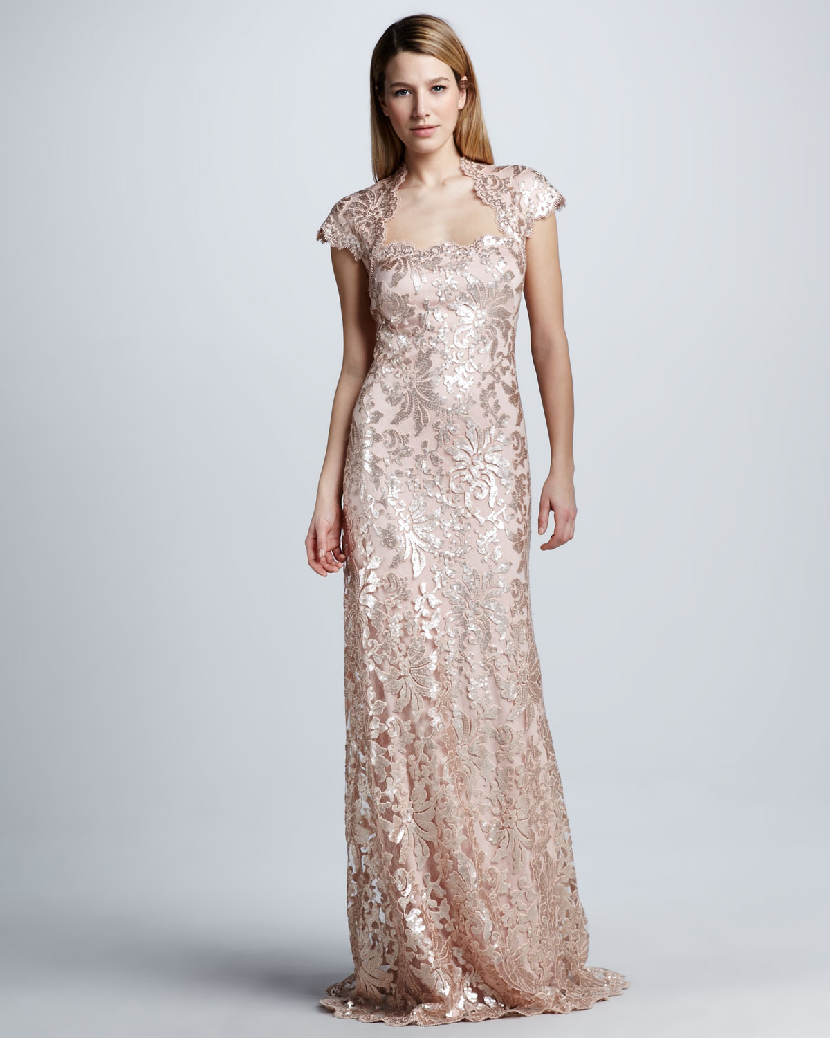 Lyst - Tadashi Shoji Sequined Lace Capsleeve Gown in Pink