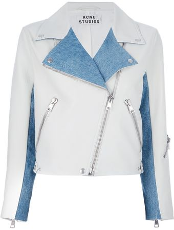 Acne Rita Denim Cropped Biker Jacket - Lyst