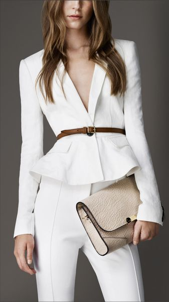 Burberry Fitted Peplum Detail Jacket - Lyst
